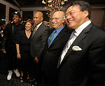 """(Boston Ma 051614) From left, Dancer Charles """"Lil Buck"""" Riley, Jill Medvedow, Director of Institute of Contemporary Art Boston,  Governor Deval Patrick, Paul Buttenwieser board chairman of ICA  and Cellist  Yo-Yo Ma,  during the Institute of Contemporary Art Gala, Friday night at the institute in Boston. (Jim Michaud Photo) Adv"""