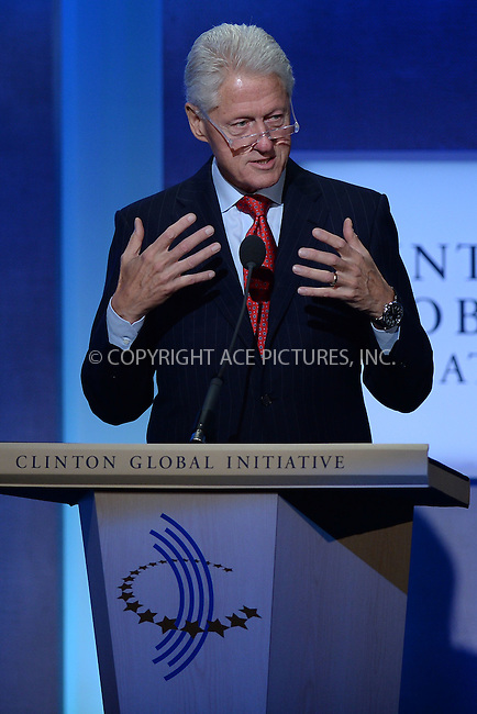 WWW.ACEPIXS.COM<br /> September 22, 2014 New York City<br /> <br /> Bill Clinton during the Clinton Global Initiative on September 22, 2014 in New York City.<br /> <br /> <br /> By Line: Kristin Callahan/ACE Pictures<br /> ACE Pictures, Inc.<br /> tel: 646 769 0430<br /> Email: info@acepixs.com<br /> www.acepixs.com
