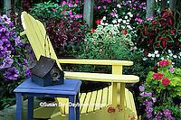 63821-14507 Yellow Adirondack chair & blue table with birdhouse on deck - Petunias, Geraniums, Salvias, Impatiens, Sun Coleus  IL