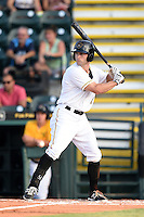 Bradenton Marauders third baseman D.J. Crumlich (3) at bat during a game against the Jupiter Hammerheads on June 25, 2014 at McKechnie Field in Bradenton, Florida.  Bradenton defeated Jupiter 11-0.  (Mike Janes/Four Seam Images)