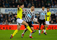 Blackburn Rovers' Lewis Travis battles with Newcastle United's Joselu<br /> <br /> Photographer Alex Dodd/CameraSport<br /> <br /> Emirates FA Cup Third Round - Newcastle United v Blackburn Rovers - Saturday 5th January 2019 - St James' Park - Newcastle<br />  <br /> World Copyright &copy; 2019 CameraSport. All rights reserved. 43 Linden Ave. Countesthorpe. Leicester. England. LE8 5PG - Tel: +44 (0) 116 277 4147 - admin@camerasport.com - www.camerasport.com