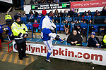 Bluey the home club's mascot interacts with fans before Ipswich Town play Oxford United in a SkyBet League One fixture at Portman Road. Both teams were in contention for promotion as the season entered its final months. The visitors won the match 1-0 through a 44th-minute Matty Taylor goal, watched by a crowd of 19,363.