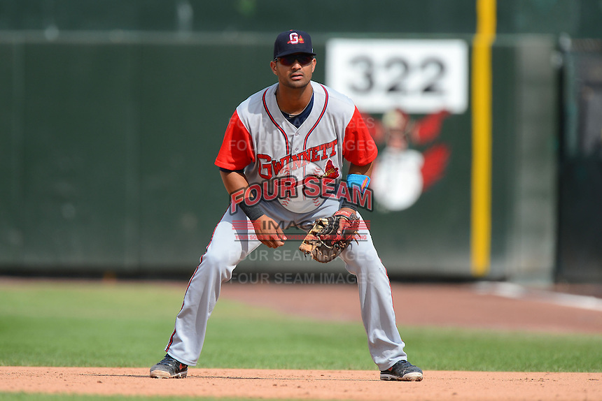 Gwinnett Braves first baseman Ernest Mejia #52 during a game against the Rochester Red Wings on June 16, 2013 at Frontier Field in Rochester, New York.  Rochester defeated Gwinnett 6-3.  (Mike Janes/Four Seam Images)
