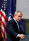 President Bush  speaks at a groundbreaking ceremony for the U.S. Institute of Peace's new headquarters and Public Education Center in Washington, DC, June 5, 2008.  Senate Majority Leader Senator Harry Reid (D-Nev.) and House Speaker Nancy Pelosi (D-Calif.)  spoke during this event. Secretary of State Condoleezza Rice attends. <br /> Credit: Aude Guerrucci / Pool via CNP