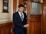 04.05.2018 Steven Gerrard emerges into the Blue Room at Ibrox as Rangers manager