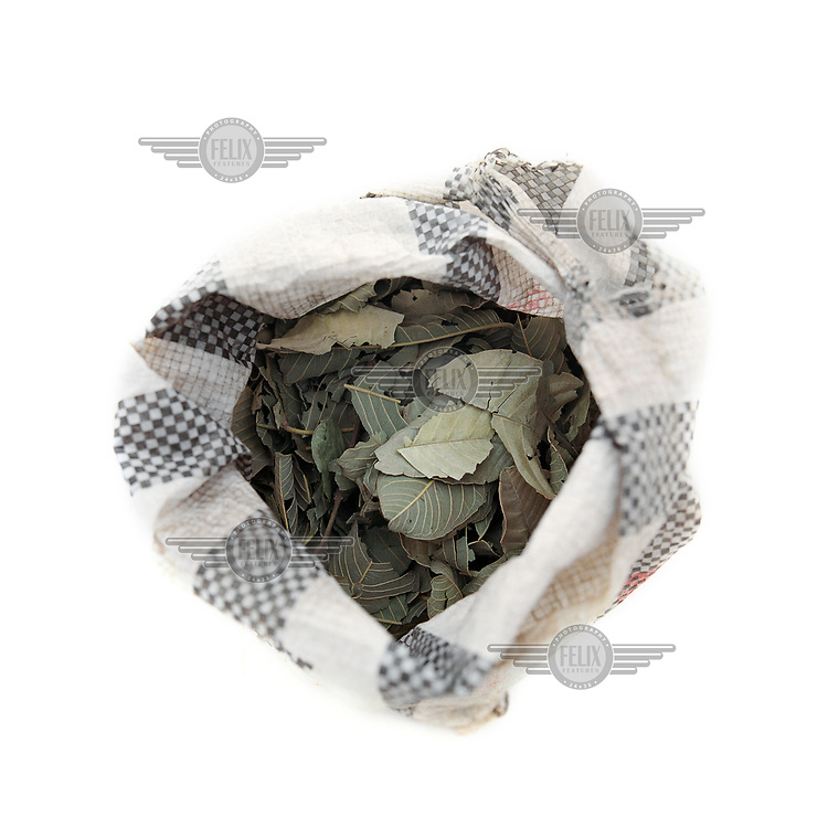 A bag of dried leaves, from a variety of potato plant, used to season bland food particularly the local staple of boiled maize porridge. The leaves are found at most local markets and are a speciality of the region. This bag costs about 50 CFA (less than GBP 0.01).<br /> The extreme north of Cameroon is suffering a food shortage exacerbated by climate change and conflict with Boko Haram. Fighting has spread across the borders from Nigeria into the countries of the Lake Chad region creating a refugee and famine crisis. Once an intrepid tourist destination boasting Waza national park, the extreme north of Cameroon now hosts people fleeing violence housed in unnamed refugee camps where they are lucky if they manage to get a single meal each day.<br />