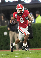 ATHENS, GA - OCTOBER 19: Dominick Blaylock #8 of the Georgia Bulldogs returns a kick during a game between University of Kentucky Wildcats and University of Georgia Bulldogs at Sanford Stadium on October 19, 2019 in Athens, Georgia.