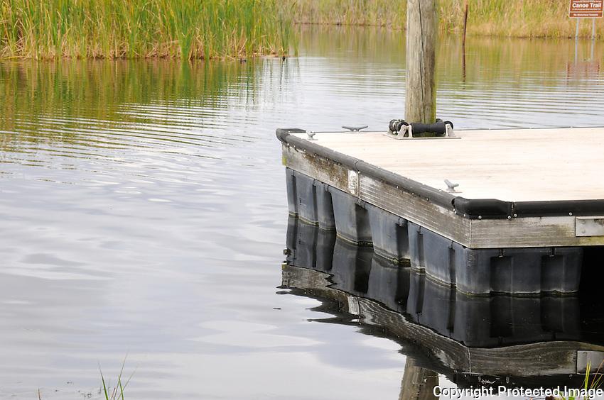 Dock near entrance to canoe trail located at Arthur Marshall Loxahatchee Preserve, Boynton Beach, Florida.