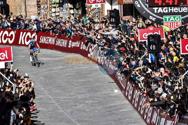 Julian Alaphilippe (FRA) Deceuninck-Quick Step enters Piazza Del Campo in Siena to win the Strade Bianche 2019 running 184km from Siena to Siena, held over the white gravel roads of Tuscany, Italy. 9th March 2019.<br /> Picture: LaPresse/Gian Matteo D'Alberto | Cyclefile<br /> <br /> <br /> All photos usage must carry mandatory copyright credit (© Cyclefile | LaPresse/Gian Matteo D'Alberto)