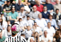 Calcio, Serie A: Juventus vs Palermo. Torino, Juventus Stadium, 17 aprile 2016.<br /> Juventus&rsquo; Sami Khedira has his face hidden by the ball during the Italian Serie A football match between Juventus and Palermo at Turin's Juventus Stadium, 17 April 2016.<br /> UPDATE IMAGES PRESS/Isabella Bonotto