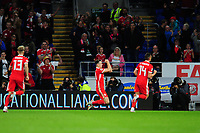 Tom Lawrence of Wales celebrates scoring the opening goal during the UEFA Nations League B match between Wales and Ireland at Cardiff City Stadium in Cardiff, Wales, UK.September 6, 2018