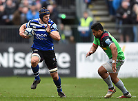 Paul Grant of Bath Rugby goes on the attack. Gallagher Premiership match, between Bath Rugby and Harlequins on March 2, 2019 at the Recreation Ground in Bath, England. Photo by: Patrick Khachfe / Onside Images