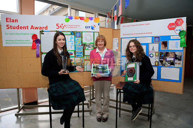 Anna McEvoy and Frances O'Regan (Teacher) and Elle Loughran students in Greenhill school that took part int he BT Young Scientist exhibition.<br />  Picture: Fran Caffrey www.newsfile.ie