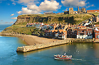 Whitby harbour with Whitby Abbey on the headland . Whitby, North Yorkshire, England