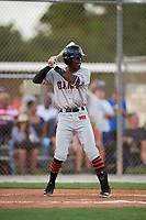 Hylan Hall during the WWBA World Championship at the Roger Dean Complex on October 18, 2018 in Jupiter, Florida.  Hylan Hall is an outfielder from Ocoee, Florida who attends TNXL Academy and is committed to Miami.  (Mike Janes/Four Seam Images)