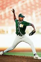 Jesus Colome of the Modesto A's during a California League baseball game circa 1999. (Larry Goren/Four Seam Images)