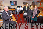 Ogie Moran, pictured with Kate Kennelly (Arts Officer with Kerry County Council), Noreen O'Mahony and Marlene Fernane, testing some of the equipment at the official opening of the Solas New Media Centre in Monavalley on Monday afternoon.