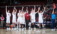 STANFORD, CA - January 17, 2019: Chris Moore, Cole Paullin, Leo Henken, Justin Lui, JP Reilly, Russell Dervay, Eli Wopat, Mason Tufuga at Maples Pavilion. The Stanford Cardinal defeated UC Irvine 27-25, 17-25, 25-22, and 27-25.