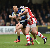 Tom Homer of Bath Rugby is tackled in possession. Aviva Premiership match, between Bath Rugby and Gloucester Rugby on April 30, 2017 at the Recreation Ground in Bath, England. Photo by: Patrick Khachfe / Onside Images