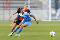 Bridgeview, IL, USA - Saturday, April 23, 2016: Chicago Red Stars forward Christen Press (23) and Western New York Flash defender Alanna Kennedy (8) during a regular season National Women's Soccer League match between the Chicago Red Stars and the Western New York Flash at Toyota Park. Chicago won 1-0.