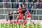 Kieran Donaghy Austin Stacks makes a spectacular catch over Dan O'Donoghue East Kerry during their SFC clash in Fitzgerald Stadium on Sunday