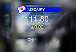 Exchange rate, Oct 16, 2017 : Exchange rate between U.S. dollar and Japanese Yen is seen on a screen at a dealing room of KEB Hana Bank in Seoul, South Korea. (Photo by Lee Jae-Won/AFLO) (SOUTH KOREA)