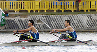 Seville. SPAIN, 17.02.2007, GRE LM2X, Bow, Elias PAPPAS and Dimitrios MOUGIOS compete in Saturdays finals of the FISA Team Cup, held on the River Guadalquiver course. [Photo Peter Spurrier/Intersport Images]    [Mandatory Credit, Peter Spurier/ Intersport Images]. , Rowing Course: Rio Guadalquiver Rowing Course, Seville, SPAIN,
