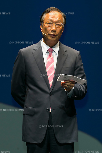 Terry Gou chairman & CEO of FOXCONN speaks during a press conference to announce that the SoftBank's robot ''Pepper'' can feel like a human on June 18, 2015, Tokyo, Japan. Masayoshi Son chairman & CEO of Japanese internet and telecommunications giant SoftBank Corp., announced that its robot Pepper can feel and understand people's emotions and also express itself. Son also said that the first 1000 robots will be on sale to the public for 198,000 JPY (1,604 USD) from Saturday June 20th, and could be available to companies to replace positions such as reception and convenience store staff from the beginning of July. To develop Pepper's skills SoftBank announced an alliance with foreign technology companies FOXCONN and Alibaba Group. (Photo by Rodrigo Reyes Marin/AFLO)