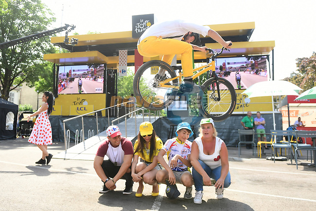 Fun and games in the Tour Village before the start of Stage 7 of the 104th edition of the Tour de France 2017, running 213.5km from Troyes to Nuits-Saint-Georges, France. 7th July 2017.<br /> Picture: ASO/Alex Broadway | Cyclefile<br /> <br /> <br /> All photos usage must carry mandatory copyright credit (&copy; Cyclefile | ASO/Alex Broadway)