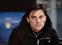 Calcio, Serie A: Lazio, Stadio Olimpico, 13 febbraio 2017.<br /> Milan's coach Vincenzo Montella waits for the start of the Italian Serie A football match between Lazio and Milan at Roma's Olympic Stadium, on February 13, 2017.<br /> UPDATE IMAGES PRESS/Isabella Bonotto
