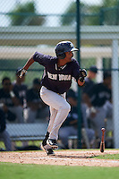 GCL Yankees 2 second baseman Yonauris Rodriguez (89) at bat during the first game of a doubleheader against the GCL Pirates on July 31, 2015 at the Pirate City in Bradenton, Florida.  GCL Pirates defeated the GCL Yankees 2 2-1.  (Mike Janes/Four Seam Images)