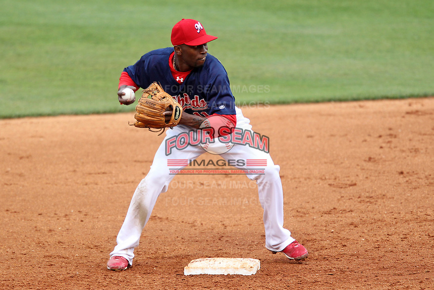 Memphis Redbirds second baseman Freddie Bynum #11 during a game versus the Round Rock Express at Autozone Park on April 30, 2011 in Memphis, Tennessee.  Memphis defeated Round Rock by the score of 10-7.  Photo By Mike Janes/Four Seam Images