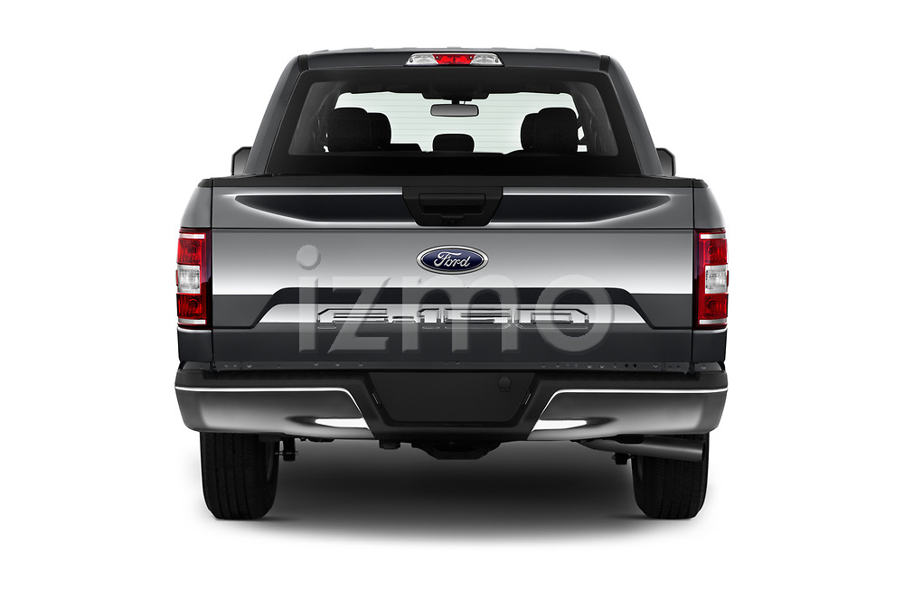 Straight rear view of a 2020 Ford F-150 XLT 4 Door Pick Up stock images