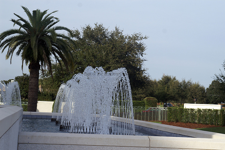 Fountains at the Orlando LDS Temple.