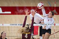 STANFORD, CA - August 28, 2016: Ivana Vanjak at Maples Pavilion. The Stanford Cardinal defeated the University of Minnesota 3-1.