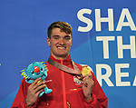 James WILBY (ENG) with his gold medal from the mens 200m . Swimming finals. XXI Commonwealth games. Optus Aquatics Centre. Gold Coast 2018. Queensland. Australia. 05/04/2018. ~ MANDATORY CREDIT Garry Bowden/SIPPA - NO UNAUTHORISED USE - +44 7837 394578