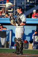 Staten Island Yankees catcher Peter O'Brien #52 during a game against the Batavia Muckdogs at Dwyer Stadium on July 30, 2012 in Batavia, New York.  Batavia defeated Staten Island 5-4 in 11 innings.  (Mike Janes/Four Seam Images)