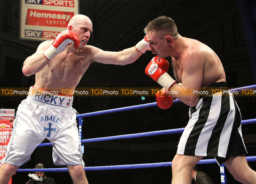 Richard Horton (Romford, white shorts) defeats Ruben Groenewald(Ramsgate, black/white shorts) in a Super-Middleweight contest at York Hall, Bethnal Green, promoted by Hennessy Sports - 04/04/08 - MANDATORY CREDIT: Gavin Ellis/TGSPHOTO - Self billing applies where appropriate - Tel: 0845 094 6026