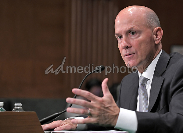 """Richard F. Smith, former Chairman and Chief Executive Officer, Equifax, Inc. gives testimony before the United States Senate Committee on Banking, Housing, and Urban Affairs as they conduct a hearing entitled, """"An Examination of the Equifax Cybersecurity Breach"""" on Capitol Hill in Washington, DC on Tuesday, October 3, 2017. Photo Credit: Ron Sachs/CNP/AdMedia"""