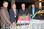 CIRCUIT OF KERRY: Launching the Circuit of Kerry Stage Rally at the Carlton hotel on Saturday l-r: Senan Raggett (Clerk of the Course), Mayor of Kerry Bobby O'Connell, TD Jimmy Deenihan and Richard Talbot (Dunlop National Championship Committee).