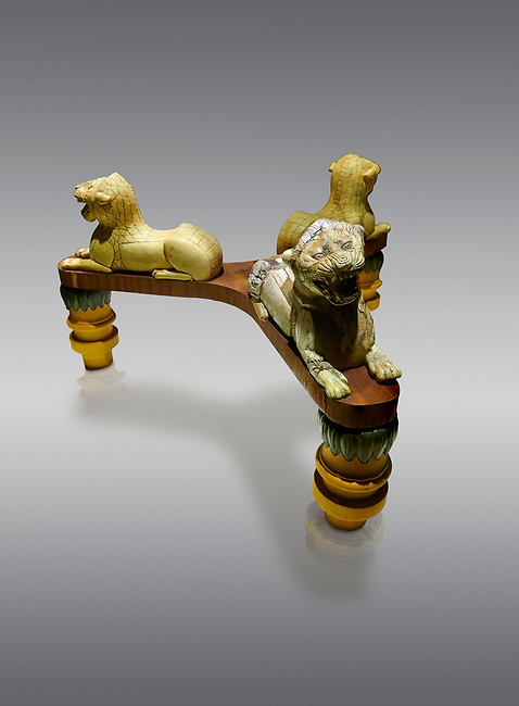 Phrygian table base support decorated with ivory roaring lion statuettes. From Gordion. Phrygian Collection, 8th-7th century BC -  Museum of Anatolian Civilisations Ankara, Turkey.