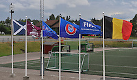 20140715 - Strømmen , NORWAY : Uefa Flags pictured with Scottish (left) and Belgian (right) during the female soccer match between Women under 19 teams of  Belgium and Scotland , on the first matchday in group A of the UEFA Women Under19 European Championship at Strommen Stadion , Norway . Tuesday 15th July 2014 . PHOTO DAVID CATRY