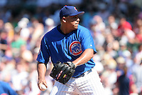 Chicago Cubs pitcher Carlos Zambrano during a game against the New York Mets at Wrigley Field on July 15, 2006 in Chicago, Illinois.  (Mike Janes/Four Seam Images)