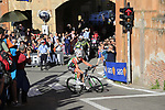 Luca Covili (ITA) Bardiani-CSF rounds the hairpin to commence the San Luca climb during Stage 1 of the 2019 Giro d'Italia, an individual time trial running 8km from Bologna to the Sanctuary of San Luca, Bologna, Italy. 11th May 2019.<br /> Picture: Eoin Clarke | Cyclefile<br /> <br /> All photos usage must carry mandatory copyright credit (© Cyclefile | Eoin Clarke)