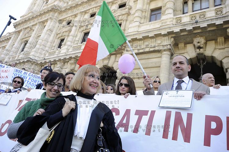 Roma, 15 Marzo 2012.Piazza Cavour.Palazzo della Cassazione.Migliaia di avvocati protestano contro la legge sulle liberalizzazioni