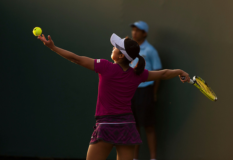 KEY BISCAYNE, FL - March 26: Kurumi Nara (JPN) in action here defeats Caroline Garcia (FRA) 63 76(9) to advance to the 3rd round of the 2015 Miami Open at Key Biscayne, FL.  Photographer Andrew Patron - CameraSport/BigShots<br /> <br /> Tennis - 2015 Miami Open presented by Itau - Crandon Park Tennis Center - Key Biscayne, Florida - USA - Day 4, Thursday 26th March 2015<br /> <br /> &copy; CameraSport - 43 Linden Ave. Countesthorpe. Leicester. England. LE8 5PG - Tel: +44 (0) 116 277 4147 - admin@camerasport.com - www.camerasport.com