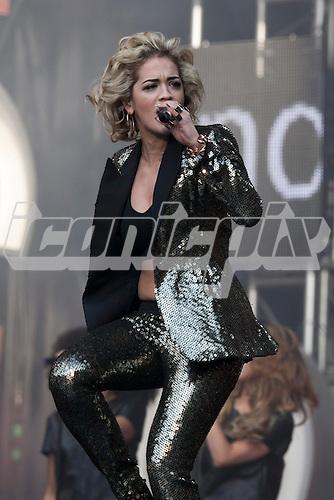 Rita Ora - performing live at the Sound of Change Live at Twickenham Stadium Surrey UK - 01 Jun 2013.  Photo credit: John Rahim/Music Pics Ltd/IconicPix