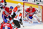 18 December 2008: Montreal Canadiens' goaltender Jaroslav Halak from the Slovak Republic makes a shoulder pad save in the third period against the Philadelphia Flyers at the Bell Centre in Montreal, Quebec, Canada. The Canadiens, trying to avoid a four-game slide, defeated the Flyers 5-2, thus ending Philadelphia's 5-game winning streak. ***** Editorial Sales Only ***** Mandatory Photo Credit: Ed Wolfstein Photo