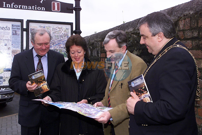 Peter Connolly, Condor Publishers, Mary Considine, president Drogheda Chamber of Commerce, Jimmy Weldon, photographer and Mayor Sean Collins at the launch of Drogheda on the Boyne Tourism's new pictorial map and guide..Picture Paul Mohan Newsfile