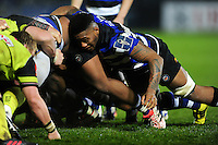 Levi Douglas of Bath Rugby in action at a scrum. Anglo-Welsh Cup match, between Bath Rugby and Leicester Tigers on November 4, 2016 at the Recreation Ground in Bath, England. Photo by: Patrick Khachfe / Onside Images